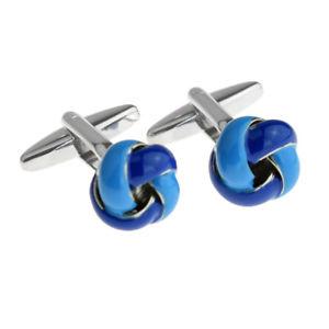 【送料無料】メンズアクセサリ― トーンノットカフスボタンボックス×two tone blue metal knot cufflinks in cufflink box x2aj018
