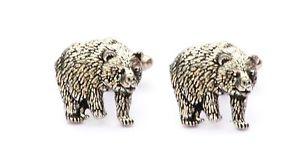 【送料無料】メンズアクセサリ― ヒグマカフスボタンピューターハンドメイドボックスbrown bear cufflinks pewter uk hand made gift boxed or pouched quantity discount