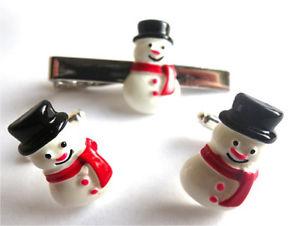 【送料無料】メンズアクセサリ― カフスボタンタイピンセットlimited quantity  handmade snowman cufflinks tie pin set free gift bag