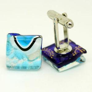 【送料無料】メンズアクセサリ― エッジムラノベネチアンガラスカフリンクスバーslightly damaged edge blue patterned murano venetian glass cufflinks with tbar
