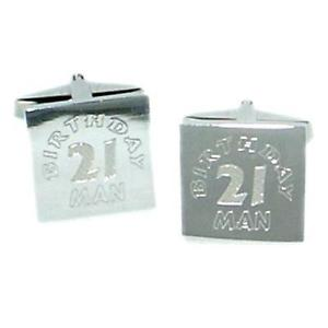 【送料無料】メンズアクセサリ― カフスボタンポーチ21st birthday man engraved cufflinks amp; gift pouch
