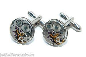 【送料無料】メンズアクセサリ― カフスボタンメンズビンテージカフリンク16mm round watch movement cufflinks mens vintage steampunk wedding cuff links