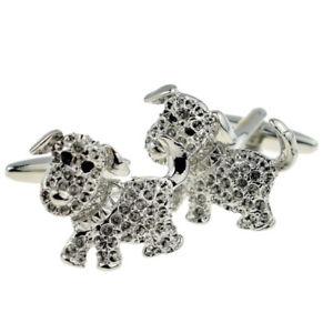【送料無料】メンズアクセサリ― ペットクリスタルカフスボタンsparkly puppy dog pet crystal cufflinks x2n090