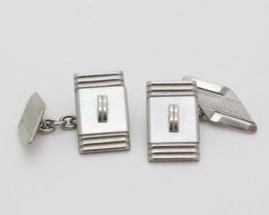 【送料無料】メンズアクセサリ― ビンテージシルバートーンパールカフスボタンカフリンクスvintage rectangle silver tone and mother of pearl cufflinks cuff links