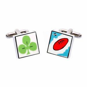 【送料無料】メンズアクセサリ― アイルランドラグビーカフスボタンスペンサーアイルランドエイラシステムirish rugby cufflinks by sonia spencer, gift boxed ireland, eire, rrp 20
