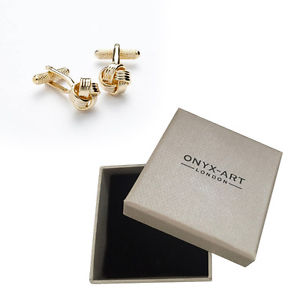 【送料無料】メンズアクセサリ― デザインゴールドカフスボタンオニキスアートボックスオンmens keltic knot design gold cufflinks amp; gift box by onyx art