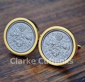 【送料無料】メンズアクセサリ― コインカフスボタンゴールド601958 sixpence 6d coin cufflinks gold mens 60th birthday anniversary present gift
