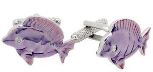 【送料無料】メンズアクセサリ― プレゼンテーションボックスカフスボタンカフリンクスpurple tropical fish cufflinks cuff links in presentation gift box