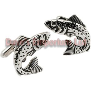 Sterling Silver 7 4.5mm Charm Bracelet With Attached 3D Small Curving Arching Trout Fish Charm