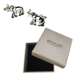 【送料無料】メンズアクセサリ― メンズシルバーエレファントカフリンクスオニキスアートボックスオンmens silver finish elephant cufflinks amp; gift box by onyx art