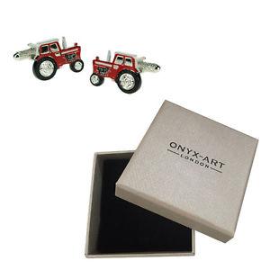 【送料無料】メンズアクセサリ― メンズトターカフスボタンボックスオニキスアートmens red tractor farmer cufflinks amp; gift box young farmers by onyx art