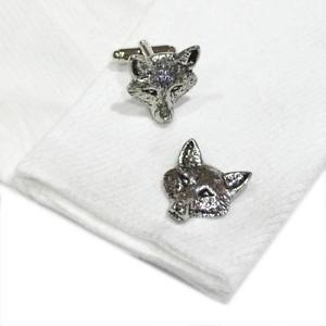 【送料無料】メンズアクセサリ― シルバーピューターイングランドカフリンクキツネフォックスヘッドカフリンクスハンドメイドsilver pewter fox head cufflinks handmade in england cuff links foxes wild