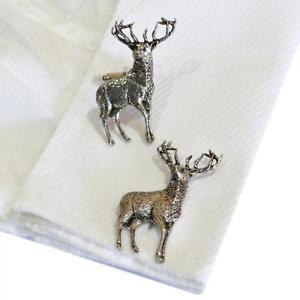 【送料無料】メンズアクセサリ― シルバーピューターイングランドカフスボタンハンドメイドスタンディングsilver pewter standing stag handmade in england cufflinks stags deer country