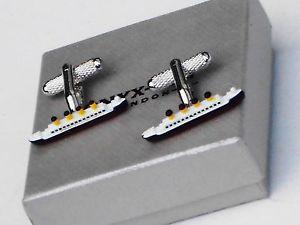 【送料無料】メンズアクセサリ― ボックスタイタニックオーシャンライナーメタルカフスボタンcruiserssailors gifttitanic ocean liner metal cuff links in a gift box