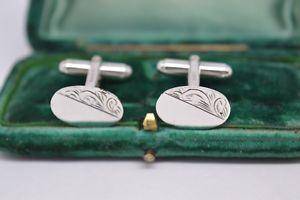 【送料無料】メンズアクセサリ― ビンテージスターリングシルバーアールデコデザインカフリンクスvintage sterling silver cufflinks with an art deco design b539
