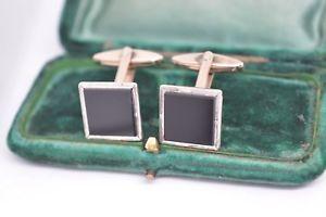 【送料無料】メンズアクセサリ― ビンテージスターリングシルバーアールデコオニキスカフリンクスvintage sterling silver cufflinks with an art deco onyx insert c650