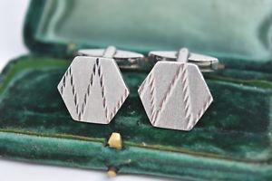 【送料無料】メンズアクセサリ― ビンテージスターリングシルバーアールデコデザインカフリンクスvintage sterling silver cufflinks with an art deco design g90