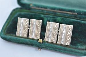 【送料無料】メンズアクセサリ― ビンテージスターリングシルバーアールデコデザインカフリンクスvintage sterling silver cufflinks with an art deco design g63