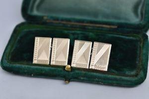 【送料無料】メンズアクセサリ― ビンテージスターリングシルバーアールデコデザインカフリンクスvintage sterling silver cufflinks with an art deco design b572