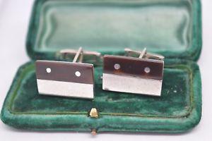 【送料無料】メンズアクセサリ― ビンテージアールデコスターリングシルバーカフリンクスvintage art deco sterling silver cufflinks with a stone insert b659