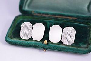 【送料無料】メンズアクセサリ― ビンテージスターリングシルバーアールデコエンジンオンデザインカフリンクスvintage sterling silver cufflinks with an art deco engine turned design b406