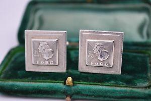 【送料無料】メンズアクセサリ― ビンテージスターリングシルバーフォードモーターカフリンクスvintage sterling silver cufflinks with a ford 25 year service award b206