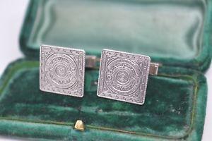 【送料無料】メンズアクセサリ― ビンテージスターリングシルバーアステカカレンダーデザインカフリンクスvintage sterling silver cufflinks with an aztec calendar design c666