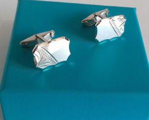 【送料無料】メンズアクセサリ― スターリングシルバーソリッドカフスボタンボックスsterling silver solid rectangular part patterned cufflinks 79g box included
