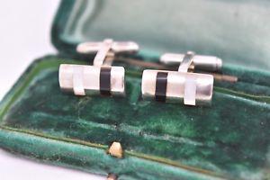 【送料無料】メンズアクセサリ― ビンテージアールデコスターリングシルバーパールオニキスカフリンクスvintage art deco sterling silver cufflinks with mother of pearl and onyx g197