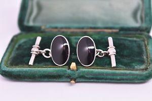 【送料無料】メンズアクセサリ― ビンテージアールデコオニキスデザインスターリングシルバーカフリンクスvintage art deco sterling silver cufflinks with an onyx design g225
