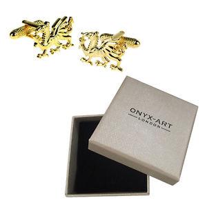 【送料無料】メンズアクセサリ― メンズゴールドウェルシュドラゴンウェールズカフスボタンオニキスアートボックスオンmens gold welsh dragon wales cufflinks amp; gift box by onyx art
