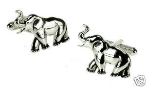 【】メンズアクセサリ— boxカフスリンクカフスリンクelephant cufflinks in polished silver finish  in box cuff links:hokushin