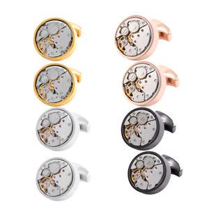 【送料無料】メンズアクセサリ― シャツビジネスカフスリンクスチームパンクムーヴメントカフスリンクmens shirt business cuff links steampunk watch movement round cufflinks