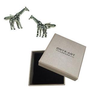 【送料無料】メンズアクセサリ― メンズキリンカフスボタンオニキスアートボックスオンmens giraffe wild animal zoo cufflinks amp; gift box by onyx art