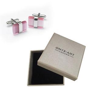 【送料無料】メンズアクセサリ― メンズピンクカフリンクスオニキスアートスマートボックスオンmens pink amp; silver cats eye cufflinks amp; gift box by onyx art smart fashion