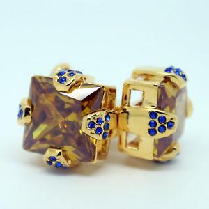 【送料無料】メンズアクセサリ― オレンジゴールドカフスリンクorange, gold and blue square crystal cufflinks
