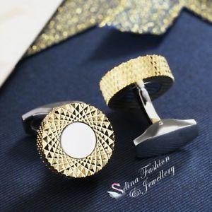 【送料無料】メンズアクセサリ― イエローゴールドステンレススチールラウンドクロスパターンメンズカフリンクス18k yellow gold plated stainless steel round crossover pattern mens cufflinks