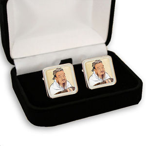 【送料無料】メンズアクセサリ― メンズカフスボタンボックスconfucius chinese philosopher men's cufflinks gift box engraving