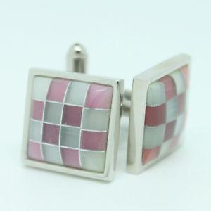 【送料無料】メンズアクセサリ― ピンクグレーシルバースクエアカフリンクスpink, grey and silver square wedding cufflinks
