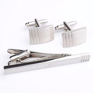 【送料無料】メンズアクセサリ― カフスボタンタイクリップメンズシルバークラスプバーアクセサリセットcufflinks and tie clip mens silver skinny clasp bar set accessories