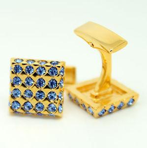 【送料無料】メンズアクセサリ― カフスリンクカフスリンクgold and blue wedding cufflinks with stones