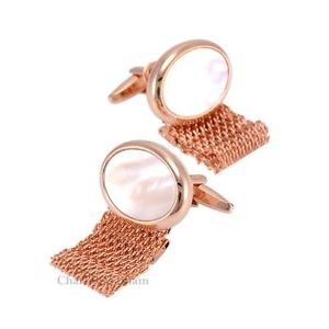 【送料無料】メンズアクセサリ― パールストーンローズチェーンメッシュcuifflinksrose gold chain mesh cuifflinks with mother of pearl stone with free gift pouch