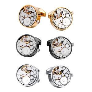 【送料無料】メンズアクセサリ― カフスボタンカフスボタンウォッチblesiya brass real working watch movements cufflinks steampunk cufflinks