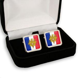 【送料無料】メンズアクセサリ― france french flag coat of arms mens cufflinksgift box engravingfrance french flag coat of arms men's cufflinks gift box