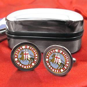 【送料無料】メンズアクセサリ― テンプルカフリンクスボックスknights templar masonic cufflinks amp; box