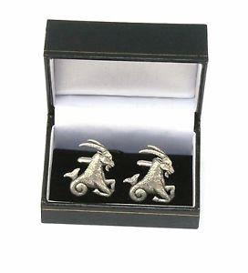 【送料無料】メンズアクセサリ― ヤギピューターカフスボタンメンズホロスコープボックスカプリコーンcapricorn the goat pewter cufflinks ideal mens horoscope gift boxed