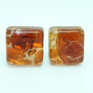 【送料無料】メンズアクセサリ― ヴェニスオレンジムラノカフスリンクorange amber coloured murano square handmade cufflinks from venice