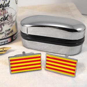 【送料無料】メンズアクセサリ― フラグカフスボタンボックスcatalonia flag cufflinks amp; box