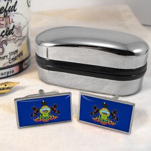 【送料無料】メンズアクセサリ― ペンシルバニアカフスボタンボックスpennsylvania flag cufflinks amp; box