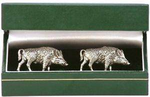 【送料無料】メンズアクセサリ― イノシシカフスボタンピューターボックスwild boar cufflinks english pewter gift boxed